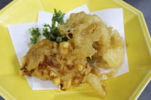 ふぐの唐揚げ、鱈の白子天ぷら